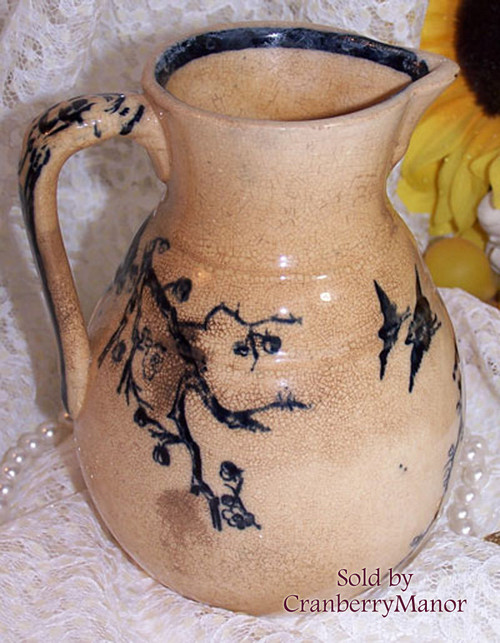 Blue & White Pottery Creamer w/ Cherry Blossom Ribbon & Bird from Japan Vintage Mid Century 1950s Designer Japanese Import Gift