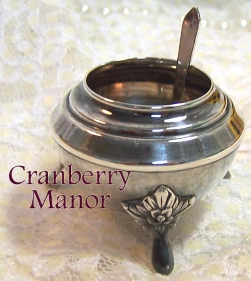 Art Nouveau Sterling Silver Open Salt & Spoon Vintage 1930s Depression Era Gift