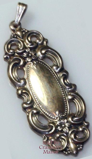 "Towle Sterling Silver Grand Duchess Art Nouveau Revival Pendant Necklace 1.5"" Vintage 1970s Designer Fashion Jewelry Gift"