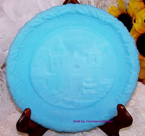 Fenton Satin Glass Christmas In America Plate San Carlos Borromeo de Carmelo Mission Church Dish Vintage 1970s Designer Gift