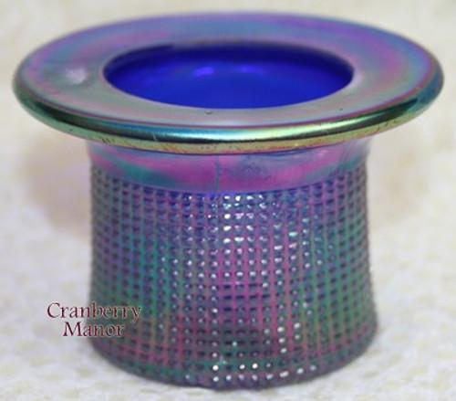 Imperial Cobalt Blue Aurora Jewels Carnival Glass Top Hat Toothpick Holder Vintage 1970s American Designer Gift