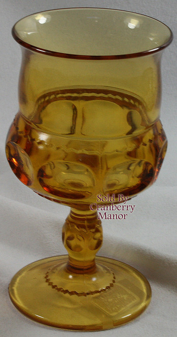 Indiana Tiffin King's Crown Thumbprint  Amber Topaz Brown Water Glass Vintage 1970s American Designer Gift