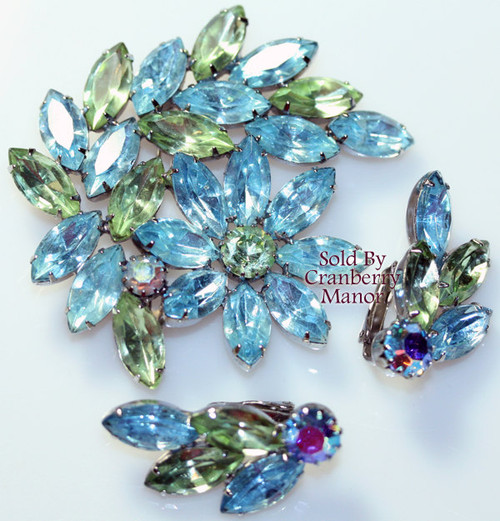 Blue Green Ice Rhinestone Brooch & Earrings on Silver Vintage Mid Century 1960s Fashion Jewelry Gift