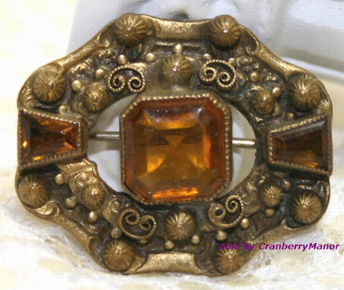 Victorian Revival Topaz Rhinestone Brooch Vintage 1920s Fashion Jewelry Gift