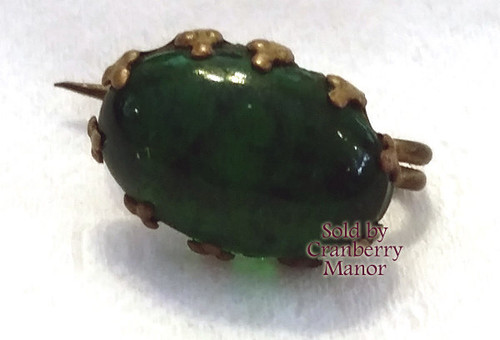 Antique Victorian Emerald Green Jelly Belly Glass Brooch Vintage 1900s Autumn Fall Harvest Fashion Jewelry Gift