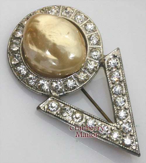 Atomic Space Age Victory Mod Sci-Fi Pearl & Crystal Rhinestone Paste Brooch Vintage 1920s Fashion Jewelry Gift