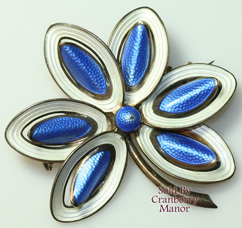 Aksel Holmsen Norway Sterling Silver Vermeil Blue & White Guilloche Enameled Brooch Vintage Mid Century 1950s Fashion Designer Jewelry Gift
