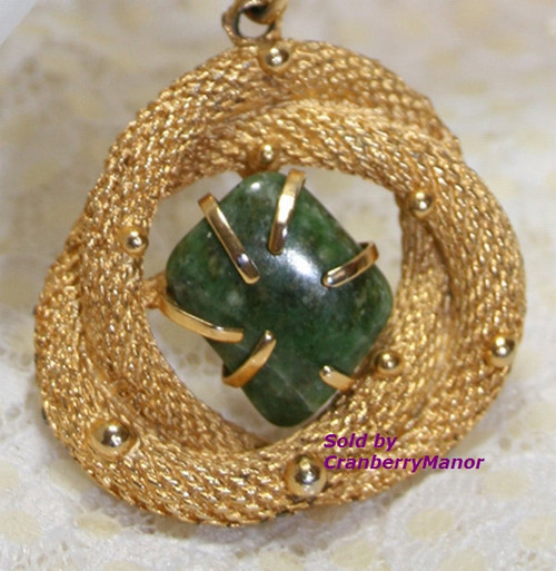 BSK Gold Twisted Mesh Rope & Agate Charm Bracelet Vintage 1970s Groovy Hip Designer Fashion Jewelry Gift