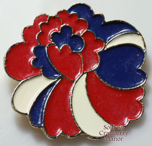 Coro Red White & Blue Patriotic Enameled Flower Brooch Vintage Mid Century 1960s Designer Fashion Jewelry Gift