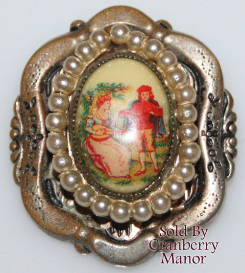 Coro Pegasus Victorian Seed Pearl Cameo Brooch Vintage Mid Century 1940s Fashion Designer Jewelry Gift