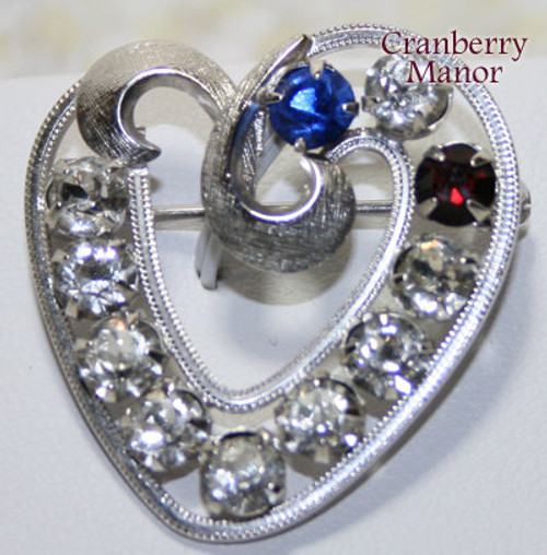 Sterling Silver Birthstone Heart Brooch by Curtis Jewelry Manufacturing Vintage 1980s Fashion Designer Rhinestone Gift