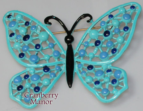 Hedison Blue Enamel Cast Butterfly Brooch Vintage 1970s Designer Fashion Enameled Jewelry Gift