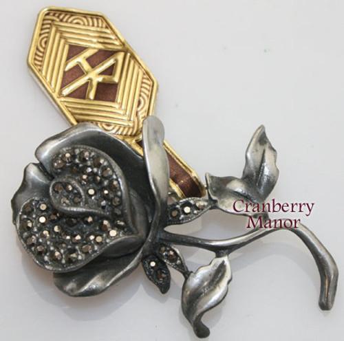 Pewter & Marcasite Rose Brooch by Helena Rubinstein w/ Original Tag Vintage 1970s Designer Fashion Jewelry Gift
