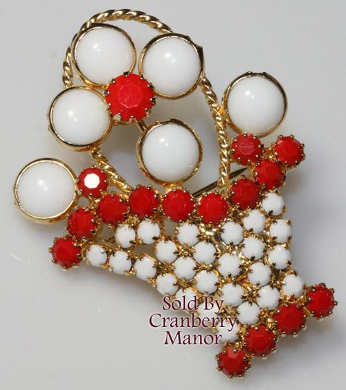 Hobe Red & White Rhinestone Basket Brooch Vintage 1970s Designer Fashion Costume Jewelry Gift
