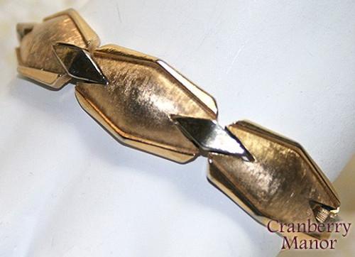 Crown Trifari Eames Era Gold Geometric Modernist Bracelet Vintage Mid Century Mod 1960s Designer Fashion Jewelry Gift