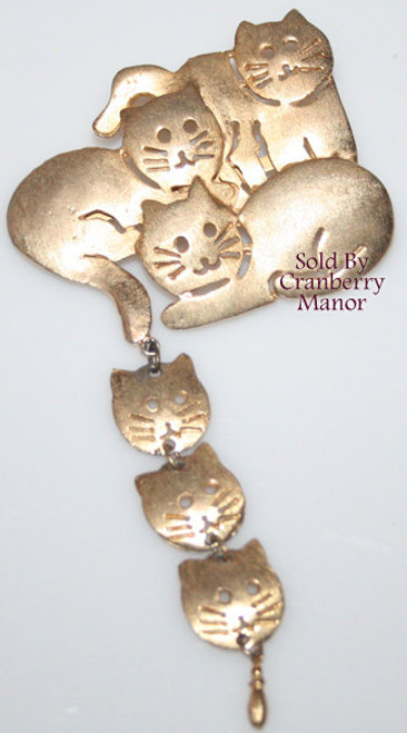 Kitty Cat Kitten Gold Brooch by Ultracraft  Vintage 1980s Totally 80s Fashion Designer Jewelry Gift