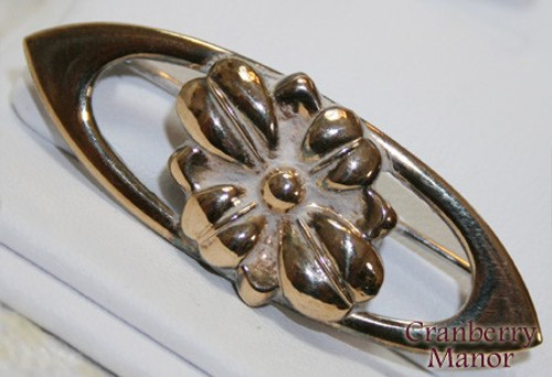 Sterling Silver Vermeil Gold Filled Rose Brooch Vintage Mid Century Mod 1950s Fashion Jewelry Gift