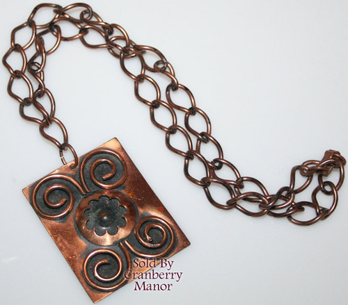 Copper Flower Medallion Pendant Necklace Vintage 1970s Designer Fashion Jewelry Gift