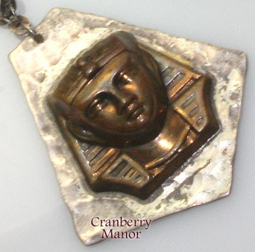 Sterling Silver & Gold Egyptian Revival Pendant Necklace Egypt Pharaoh Vintage 1970s Designer Fashion Jewelry Gift