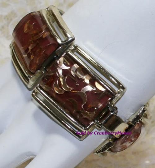 Confetti Lucite Moon & Stars Bracelet & Earrings Demi Parure Vintage 1970s Plastic Fashion Jewelry Gift