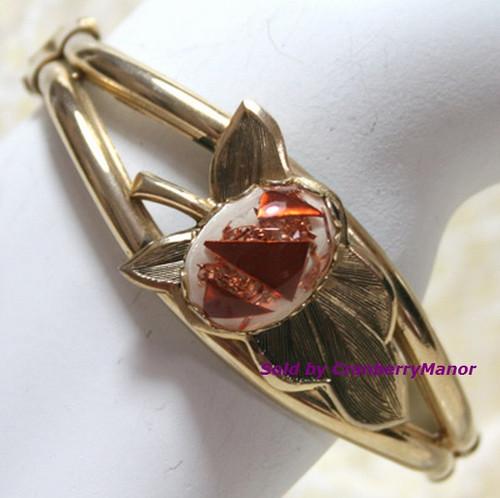 Bronze & Gold Confetti Lucite Bangle Bracelet Vintage 1970s Fashion Jewelry Gift