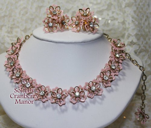 Pink Daisy Crystal Rhinestone Necklace & Earrings Flower Power Demi Parure Vintage Mid Century 1960s Fashion Jewelry Gift