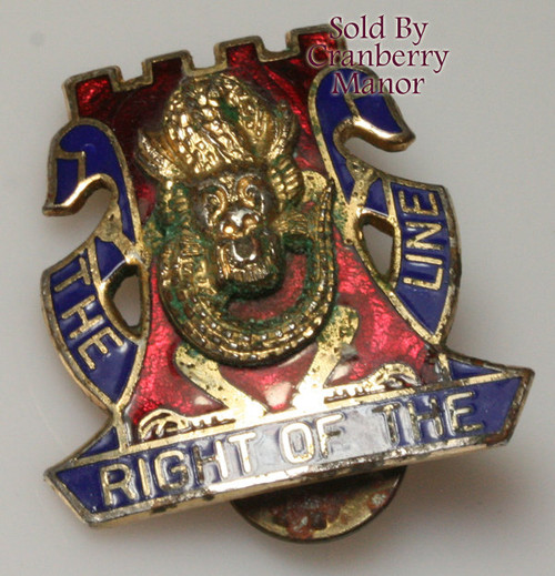 NS Meyer Army Crest Insignia Pin Vintage Mid Century 1960s Military Golden Dragons 14th Infantry Regiment The Right OT Line Fraternal Militaria Jewelry Gift