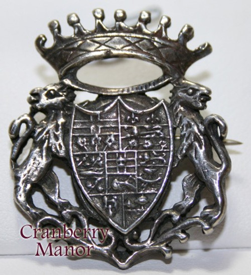 Antique Sterling Silver Canada 7 Province Badge Brooch Crown Lion Griffon  Vintage 1900s Canadian Designer Fashion Jewelry Gift