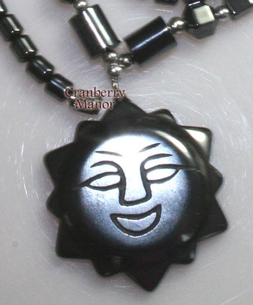 Hematite Sun God Pendant Necklace Beaded  Summer Solstice Choker Vintage 1980s Fashion Jewelry Gift