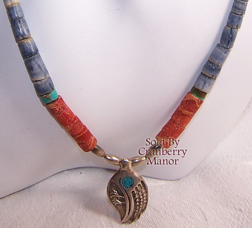 Turquoise & Coral Bird Fetish Necklace Icon Vintage 1970s Fashion Jewelry Gift