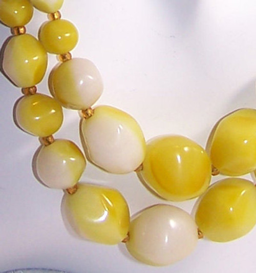 Yellow Marbled BOHO Bohemian Beaded Choker Necklace form Japan Vintage Mid Century 1960s Japanese Designer Fashion Jewelry Gift