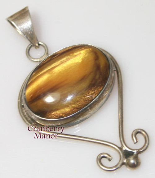 Sterling Silver & Tiger's Eye Pendant Necklace from Mexico for QVC Vintage 1990s Mexican Designer Fashion Jewelry Gift