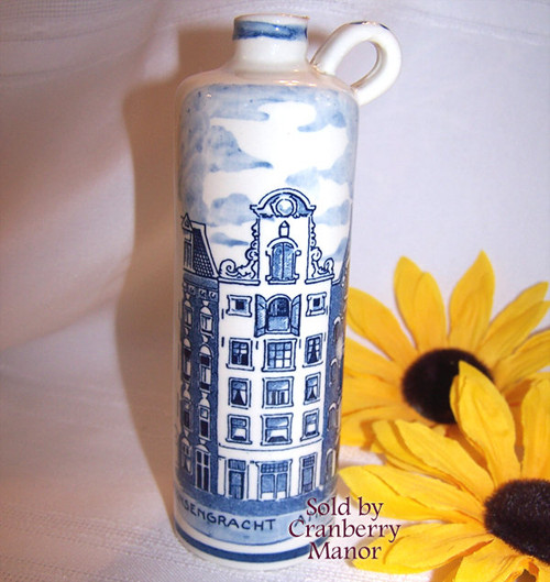Holland America Cruises Delft Blue Souvenir Decanter Bottle Delftware Jug Vintage 1980s Lucas Bols Dutch Designer Pottery Gift