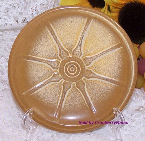 Frankoma Wagon Wheel Plate Desert Gold Art Pottery Vintage Mid Century 1960s American Designer Gift