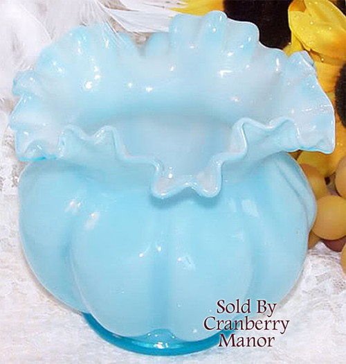 Fenton Blue Overlay Squat Melon Art Glass Vase Vintage Mid Century 1940s American Designer Gift