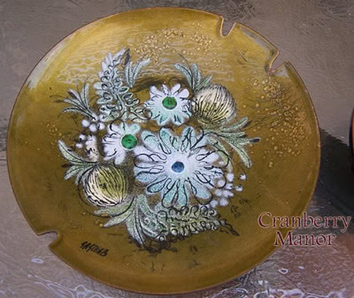 Copper Enameled Ash Tray by Sascha Brastoff California Pottery Vintage Mid Century 1950s Designer Tobacciana Gift