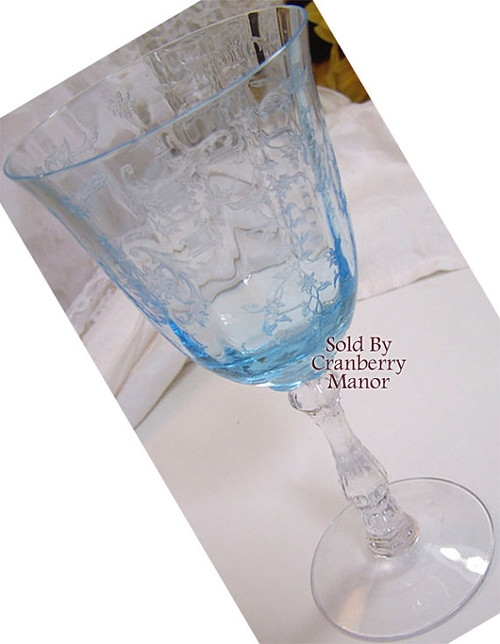 Fostoria Blue Navarre On Wilma Claret Etched Wine Glass Vintage 1970s American Designer Wedding Bride Bridal Gift