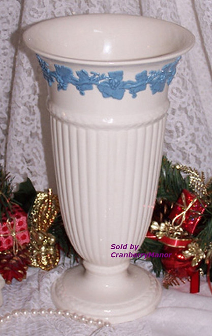 Wedgwood Blue & White Embossed Queen's Ware Vase w/ Relief Grape Vine from England Vintage Mid Century 1950s English Designer Eturia Barlaston Porcelain Gift