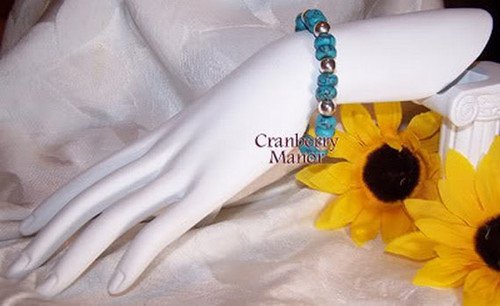 Sterling Silver & Faux Turquoise Beaded Bracelet Vintage Fashion Jewerly Gift