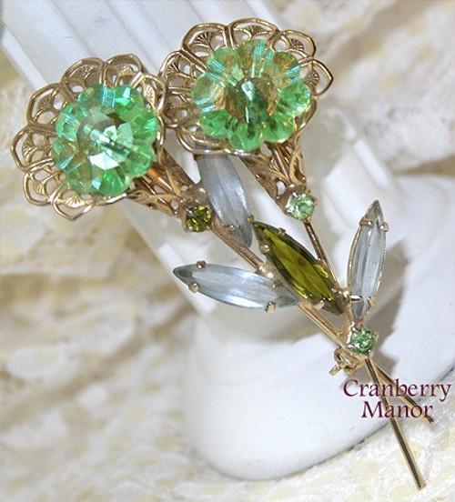 Green Rivoli Rhinestone Filigree Flower Brooch Vintage 1970s St. Patrick's Day Fashion Jewelry Gift