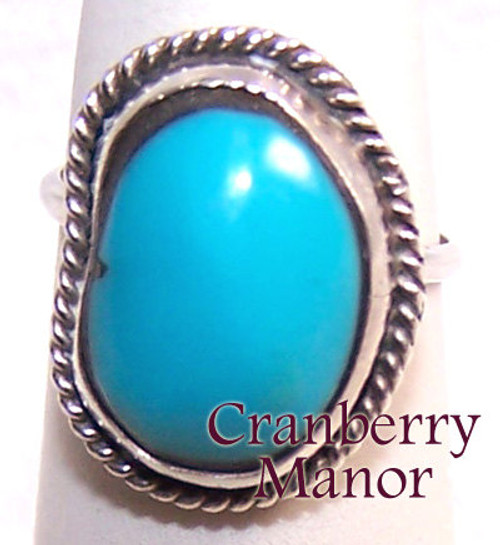 Blue Stone on Silver Rustic Cowboy Ring Size 6 Vintage Fashion Jewelry Gift