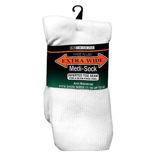 Extra Wide Sock Company #6950 White Medical / Diabetic Sock Inverted Toe Seam w/ Microban
