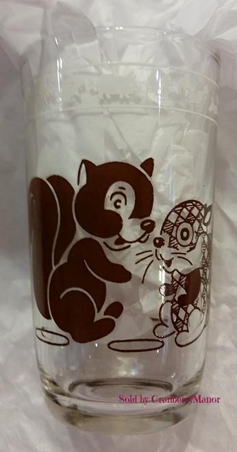Kraft Cheese Swanky Swig Glass by Hazel Atlas, Brown Deer & Squirrel, Vintage Collectible Swankyswig Gift