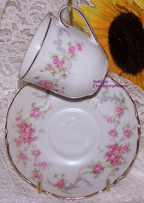 pink rose tea cup saucer lorenz hutschenreuther selb bavaria germany richelieu demitasse. Black Bedroom Furniture Sets. Home Design Ideas