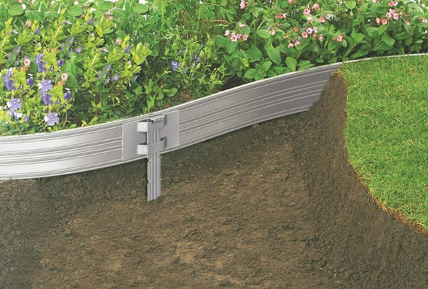 "Sure-Loc 1/8"" x 4"" x 8' Professional Aluminum Landscape Edging Mill Finish"