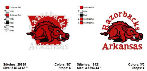 Set of 2 Arkansas Razorbacks College Sports Team Machine Embroidery Designs Instant Download