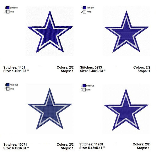4 Sizes Dallas Cowboys  NFL Sports Team Football Machine Embroidery Designs Instant Download