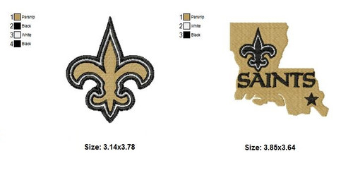 Set of 2 New Orleans Saints NFL Logo Embroidery Designs Instant Download 4x4 hoop