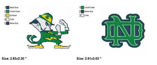 Set of 2 University of Notre Dame Sports Team Embroidery Designs Download
