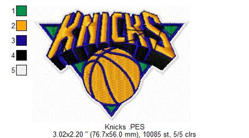 New York Knicks NBA Basketball Team Sports Embroidery Designs Download